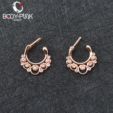 Body Punk Rose Gold Multi Clear CZ Septum Clicker Nose Rings 14G 16G Titanium Pole Fashion Body Piercing Jewelry