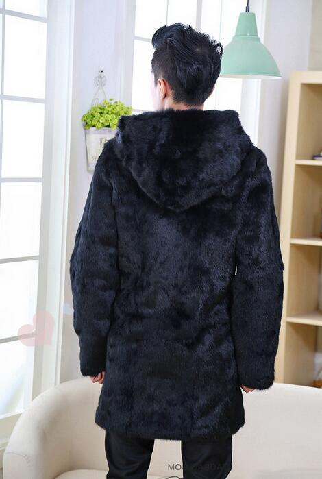 Осенне-зимние плотные теплые волосы норки кожаные куртки мужские повседневные мужские средней длины пальто Верхняя одежда Мода с капюшоно...