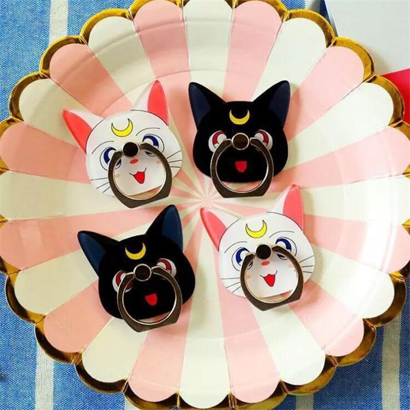 Cartoon Anime Sailor Moon Luna Cat Mobile Phone Holder Paste Flat Ring Lazy Bracket Couple Mobile Phone Ring Bracket