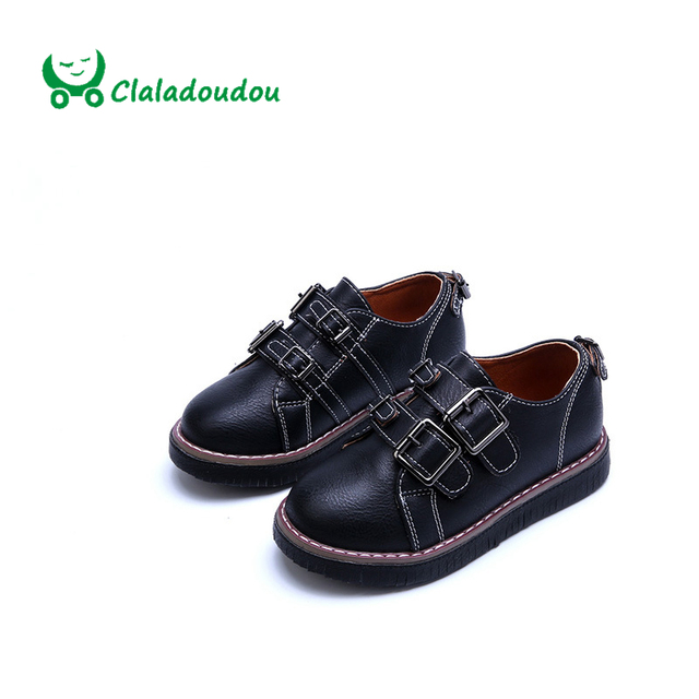 Claladoudou Kids PU Leather Shoes Girl Children Performance Dress Shoes Boys School White Black Fashion Tassels Shoes Size26-30