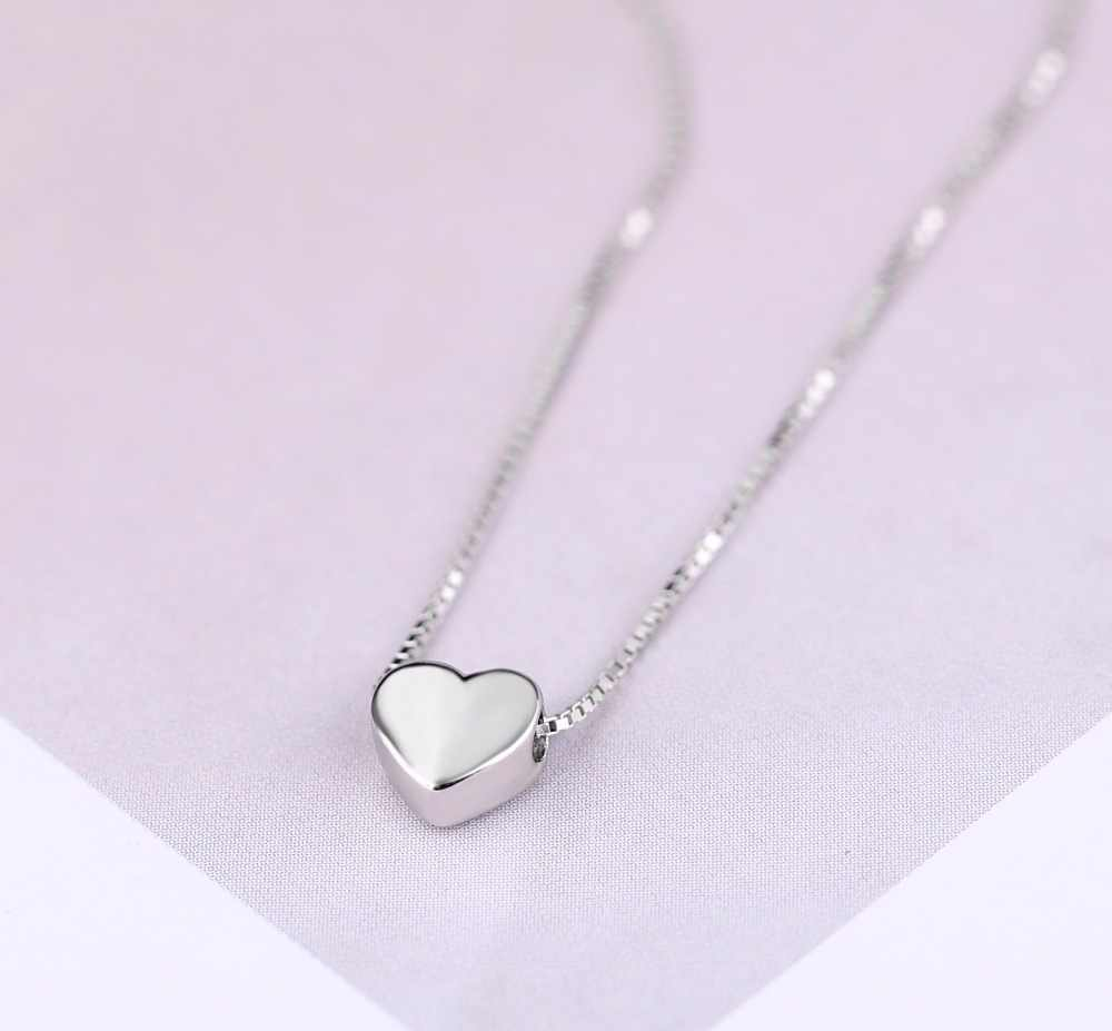 New Arrivals 925 Sterling Silver Love Heart Necklaces for Women Wedding Jewelry Long Necklaces Statement Jewelry