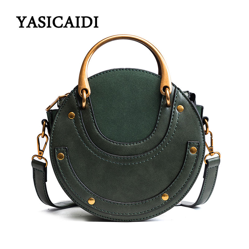Women Fashion Messenger Bags Pu Leather Ladies Sequined Handle Women Handbag Brand Metal Ring Saddle Women Crossbody Bags