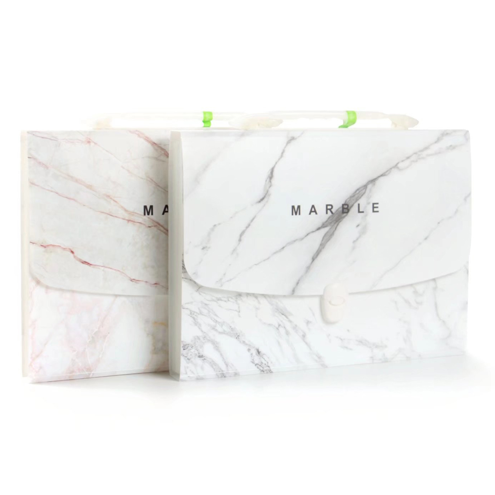 Fashion Marble Expanding File Folder A4 Document Bag Exanding Wallet Exam Paper Bill File Organizer School Office Stationery portable floral series 13 layers document bag a4 file folder expanding wallet bill folder size 332 234mm school office supplies