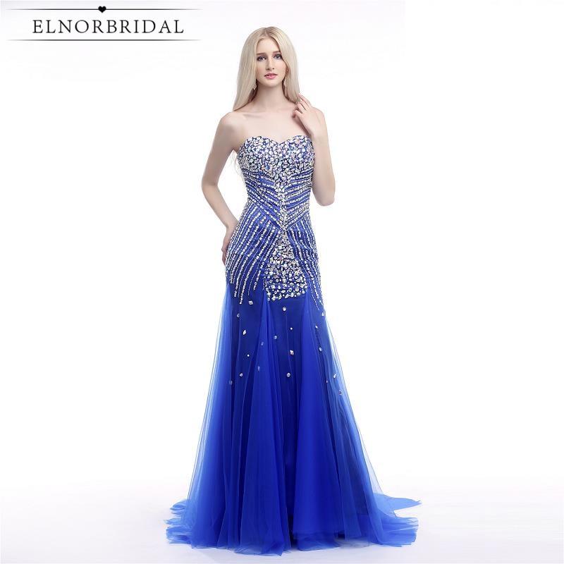 Royal Blue Mermaid Prom Dresses Long 2017 Modest Robe De Bal Sweetheart Beaded Tulle Formal Evening Dress Floor Length Party