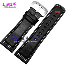 28mm New High Quality Black Genuine Leather Watchbands Strap Black Brushed Steel Depolyment Clasp For SevenFriday