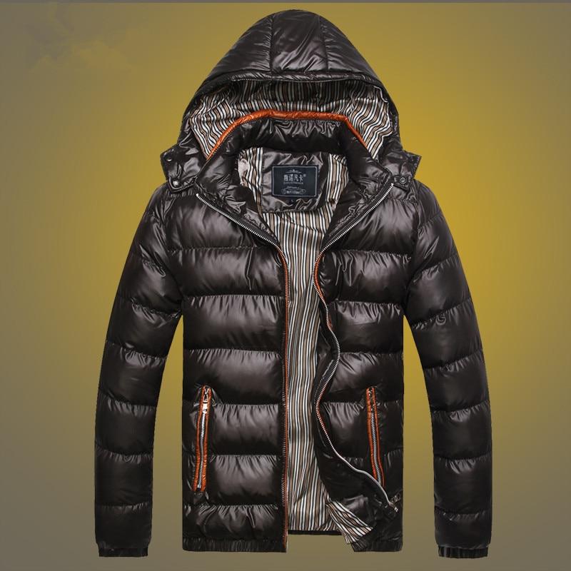 Kış Ince Erkek Ceket Kalınlaşmak Katı Kapşonlu Parkas Zip Up Wadded Campera Hombre Invierno 2016 Adam Coat Çift Cepler Dış Giyim