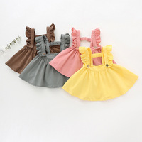 2018 Newborn Baby Girl Skirt Children Summer Clothes Ruffles Strap Pleated Tutu Skirts for Girl Toddler Corduroy Suspender Skirt