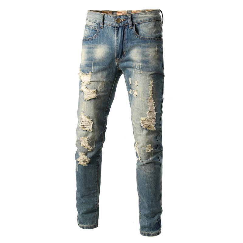 Italian Style Men Jeans Fashion Designer Mens Jeans Knee Hole Frayed Ripped Jeans For Men,Hip Hop Fashion Men Pntas