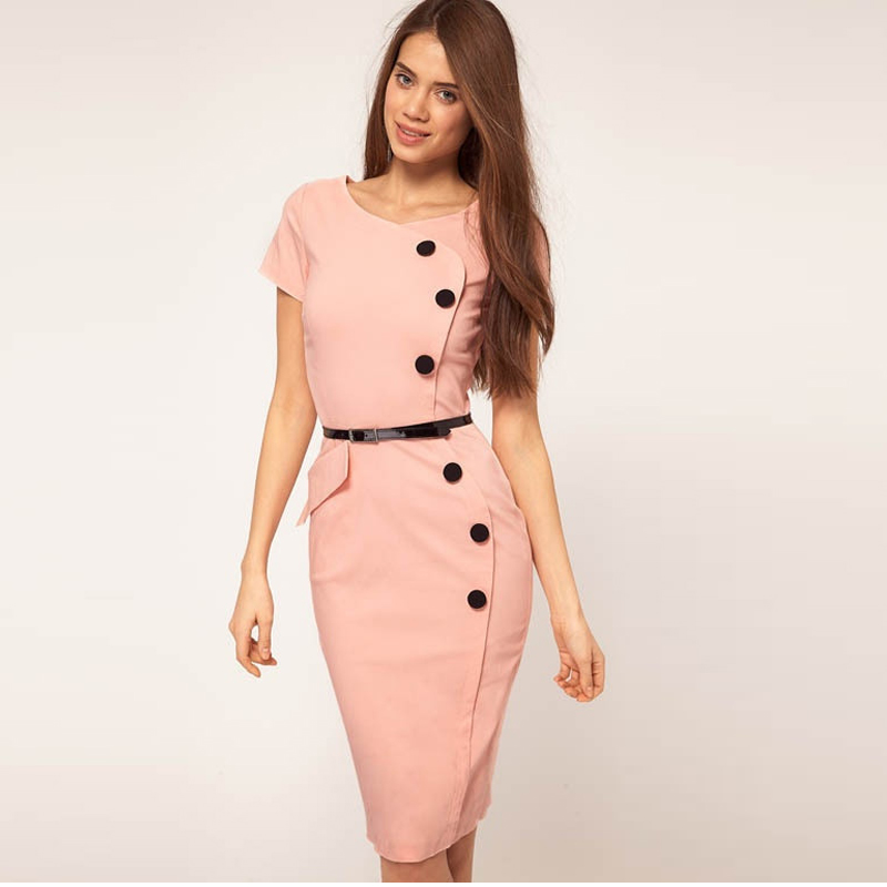 Johnny guo's store 2016 Women Dress Summer Short Sleeve Button Decoration Solid Color Office Dress Female Casual Pencil Dresses For Women Vestidos