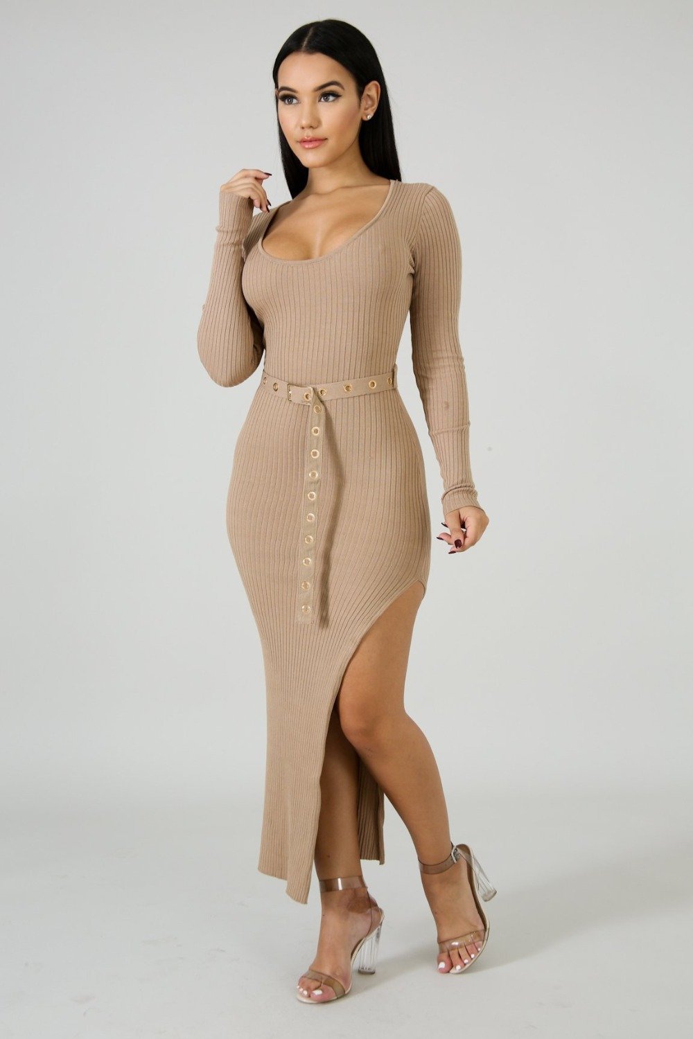 452daea53f13 Solid Knitted Rib Maxi Dress Women Casual Cotton Long Sleeve O Neck Sexy  High Split Knit
