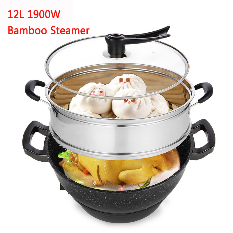 J35 Multi-function Aluminum alloy 2 layer cooker household non-stick electric hot pot Maifan Stone 12L 1900W with Bamboo steamer j35 multi function aluminum alloy 2 layer cooker household non stick electric hot pot maifan stone 12l 1900w with bamboo steamer