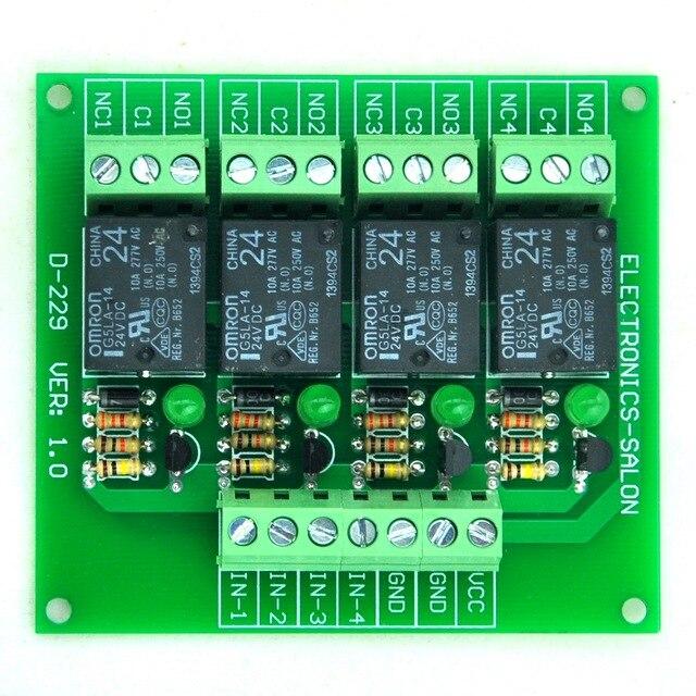 Четыре (4) SPDT 10Amp Мощность Релейный Модуль, 24В Версия, для PIC/8051