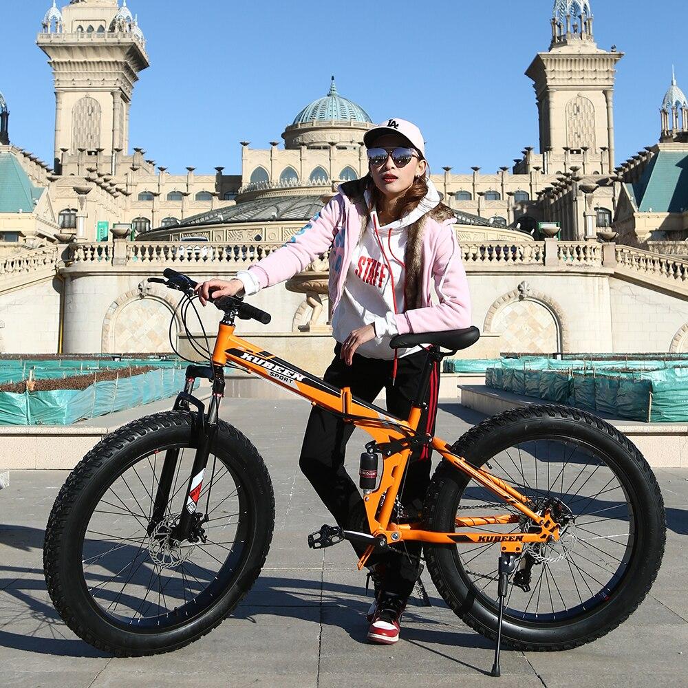 KUBEEN Mountain Bike Super WideTire Bike Snowmobile ATV 26*4.0 Bicicletta 7/21/24/27 Velocità Ammortizzatori Bici