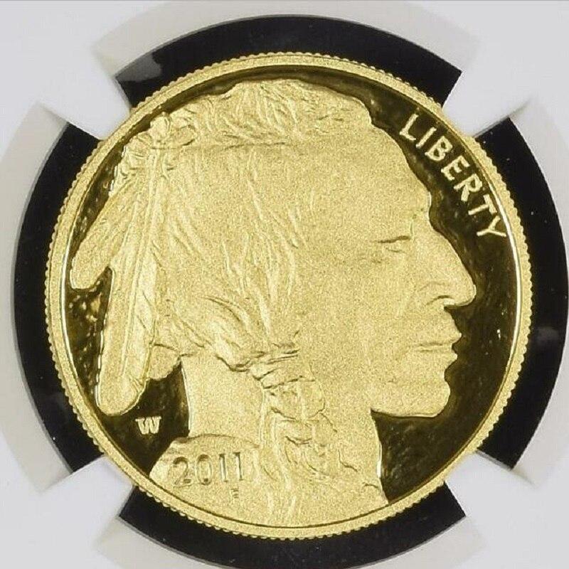 2011 Вольфрамовая монета с покрытием 1,5 г. 999 тонкое Золото Американский буйвол Градуированный PF70 1 troy Oz. in origanl case