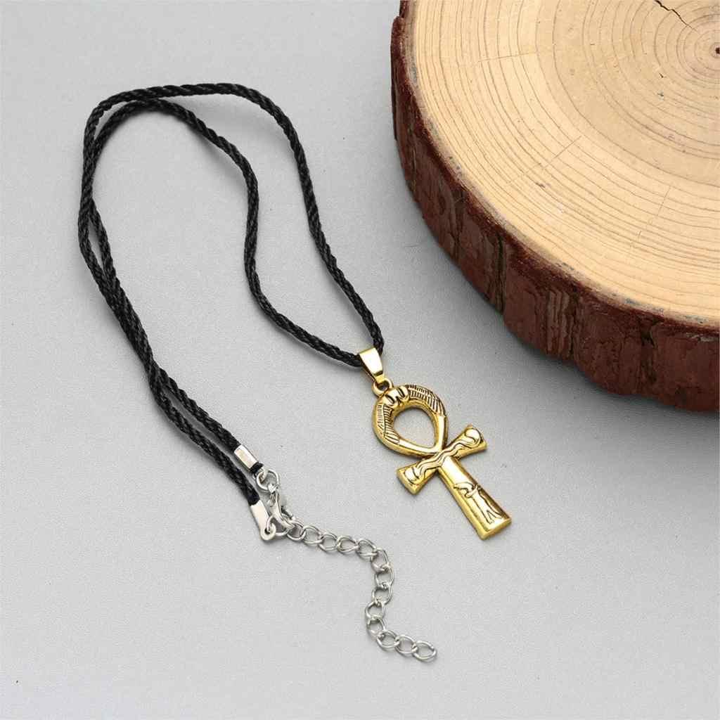 Cxwind Retro naszyjnik Ankh krzyż wisiorek i Rope Chain klucz nilu mężczyźni kobiety biżuteria krzyż egipski urok Amulet biżuteria