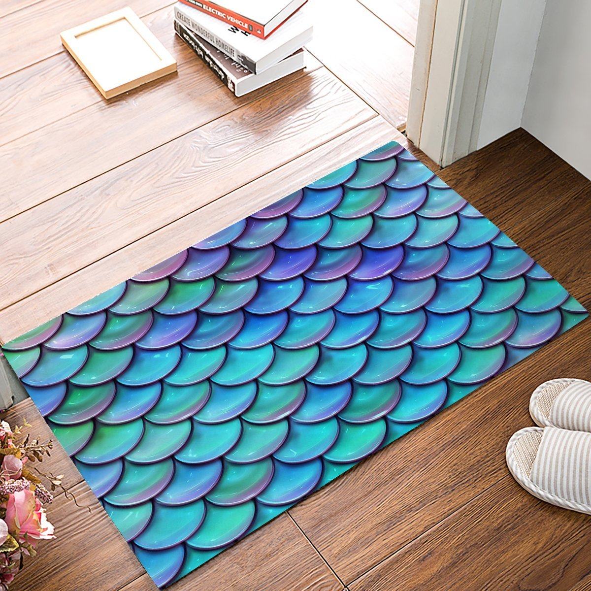 Fantasy Gradient Fish Scale Door Mats Kitchen Floor Bath Entryway Rug Mat Indoor Bathroom Decor Doormats