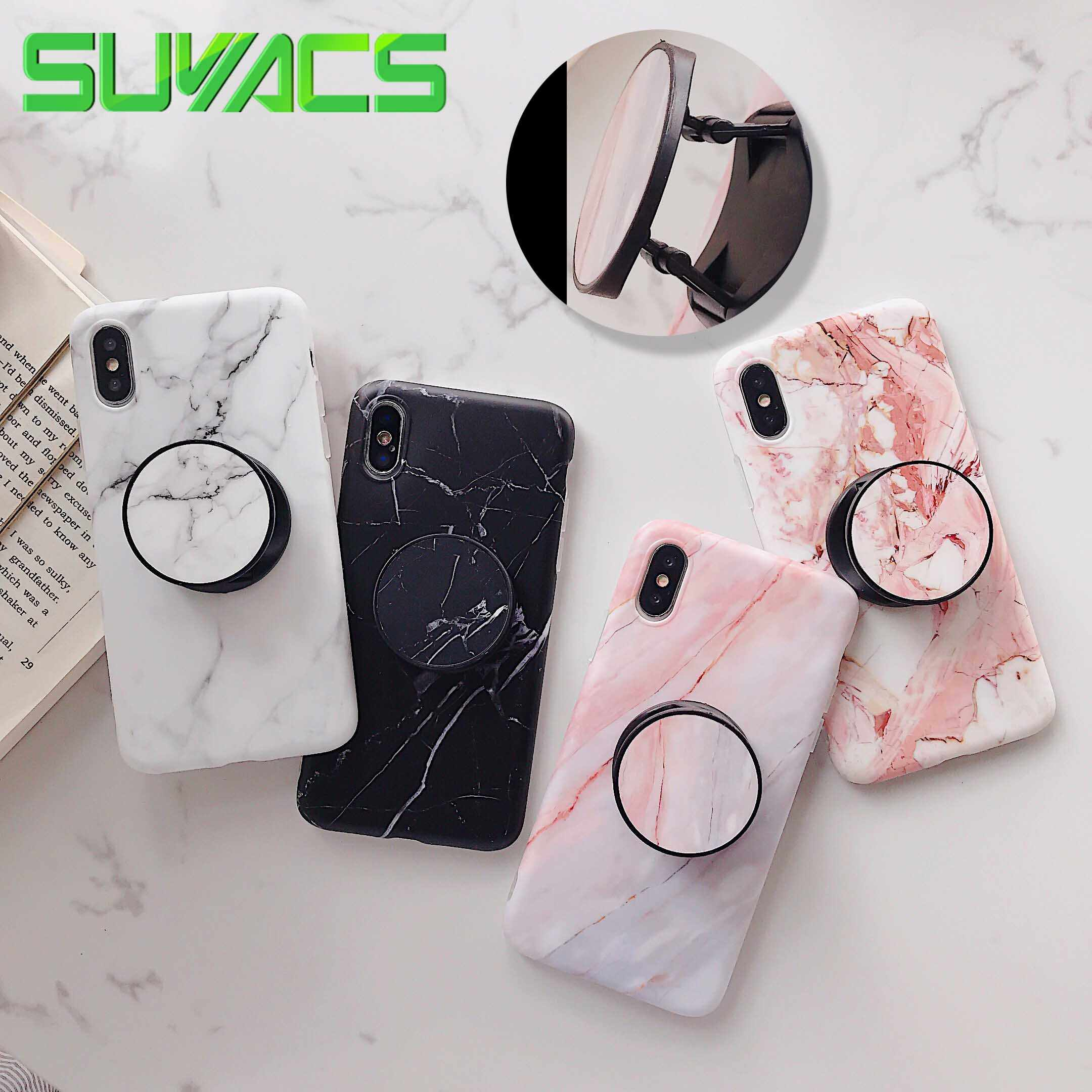 SUYACS Marble Flexible Stand Holder Case For iPhone XS XS Max X 8 7 6S Plus For Huawei P20 For Samsung S10 Soft IMD Phone Cover