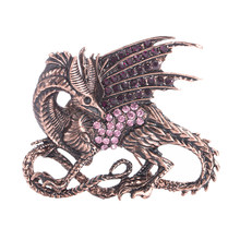 2019 Baru Trendi Vintage Berlian Imitasi Game Of Thrones Purple Dragon Pin Bros Antik Kristal Besar Wanita Bros Besar Pria Bros(China)