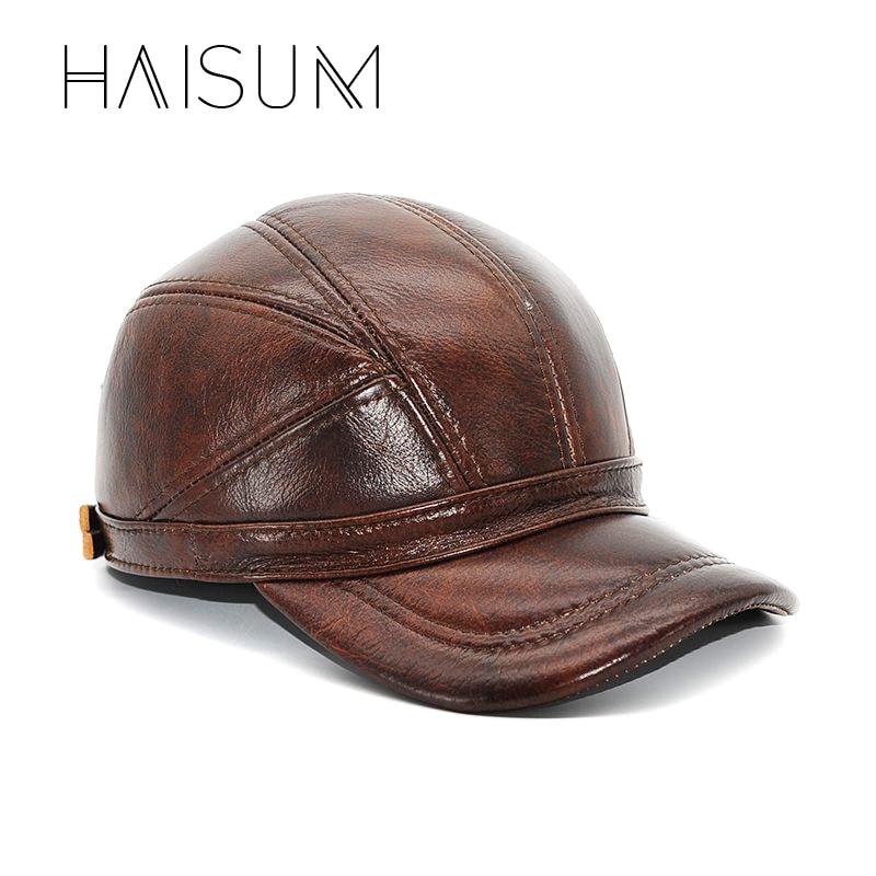 2018 Limited New Adult Patchwork Haisum cuero genuino gorra de béisbol de los hombres de invierno sombreros con orejas 2 colores de la más alta calidad cs52
