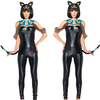 2018 Halloween Large Women's Greek Goddess Onesies Cleopatra's Costumes Quality Tights Patent Leatherette Black Cats Cosplay
