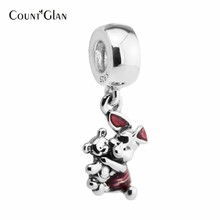 Cerise Transparent Enamel Dangle charms 925 sterling silver Animals Piglet adjustment bead Fit Women bracelet DIY Fine Jewelry