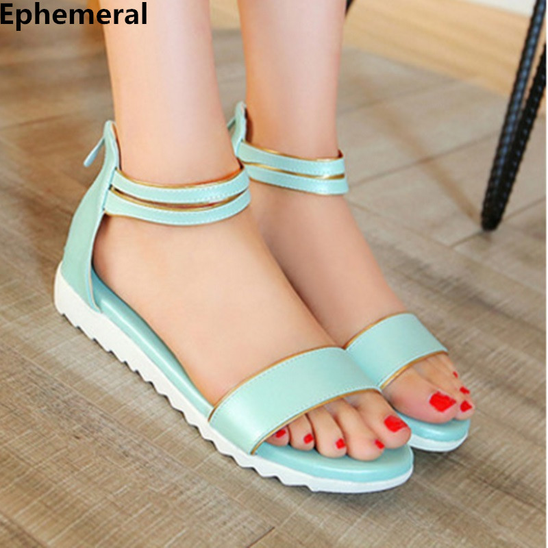 Ephemeral Ladies zip sandals with heels buckle strap open toe summer casual shoes woman spongy insole plus size 11 12 white pink  ephemeral ladies zip sandals with heels buckle strap open toe summer casual shoes woman spongy insole plus size 11 12 white pink