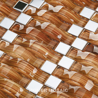 Decor Mesh Interior Glass Mosaic Kitchen Backsplash Tile Wholesale, Brown Arched Glass Mosaic Mixed Stainless Steel