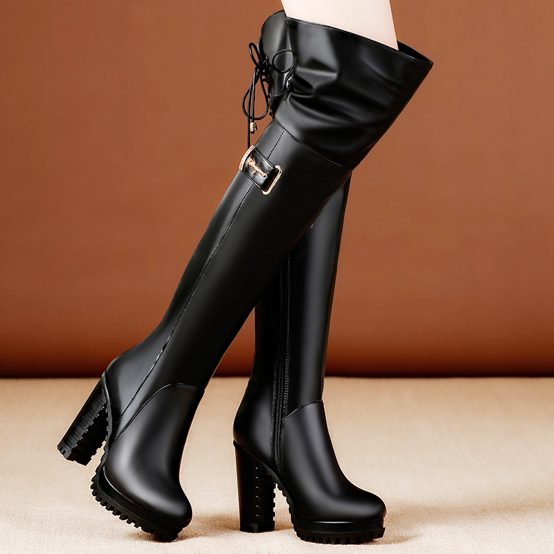 Women Winter Fashion Full Grain Leather Short Plush Thick Warm High Heels Boots Genuine Leather 2018 New Thigh High Boots 1115