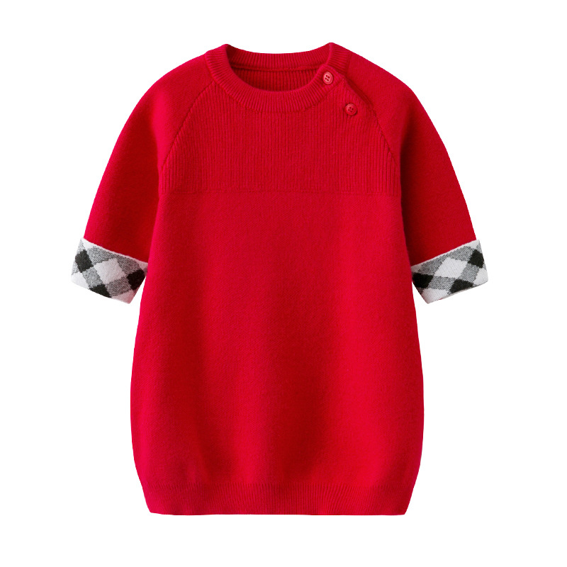 High Quality Girls Knitted Dress 2018 Winter Long Sleeves Toddler Kids Pullover Sweaters Tops Autumn Casual Children Red Dresses light coffee knitted long sleeves off shoulder midi dress