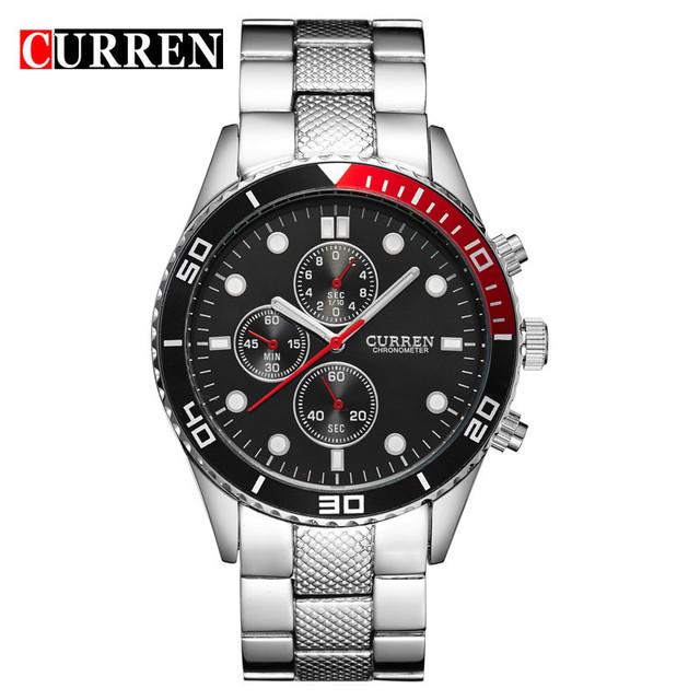 2015 Venda Quente Casual MARCA CURREN Japão Duplo Relógio de Quartzo Dos Homens Relógios Desportivos Militar Relógio De Pulso Para Homens 8028
