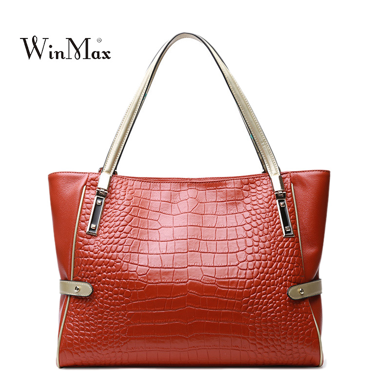 High Quality Women Genuine Leather Handbags Alligator Shoulder Bag Ladies Cow Leather Tote Bag Casual Female Handbag Sac a Main