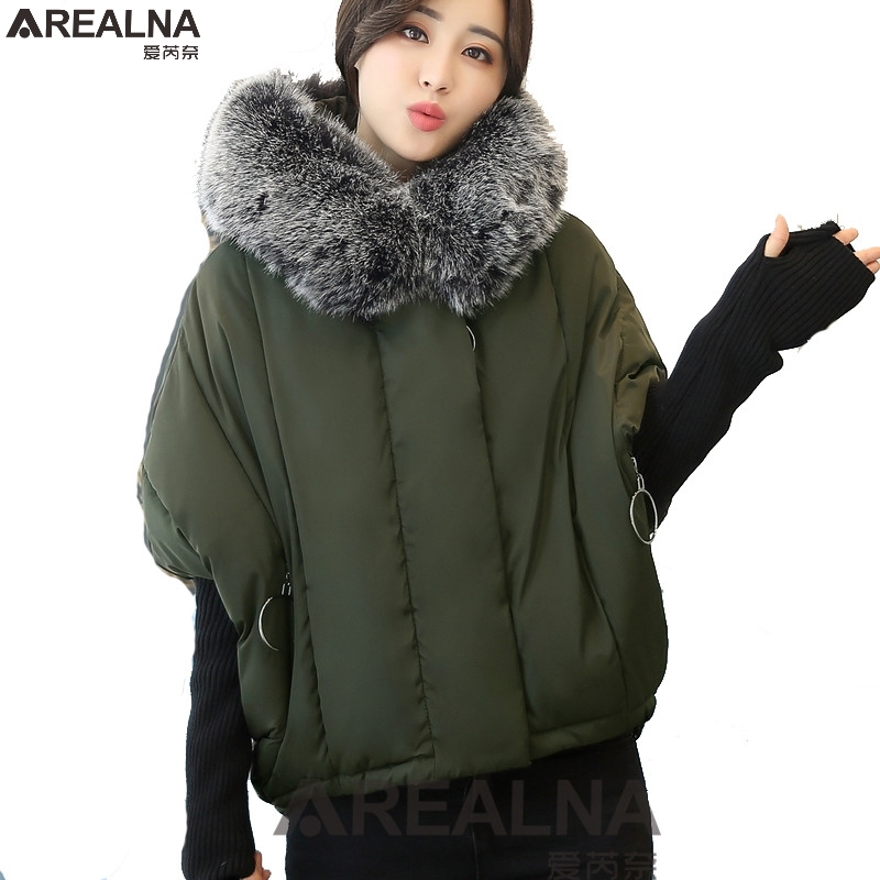 Winter jacket women short paragraph plus size coat women cotton Warm loose bat sleeves splicing knitted sleeve parka Outerwear plus size fashionable short sleeve laciness spliced striped loose shirt for women