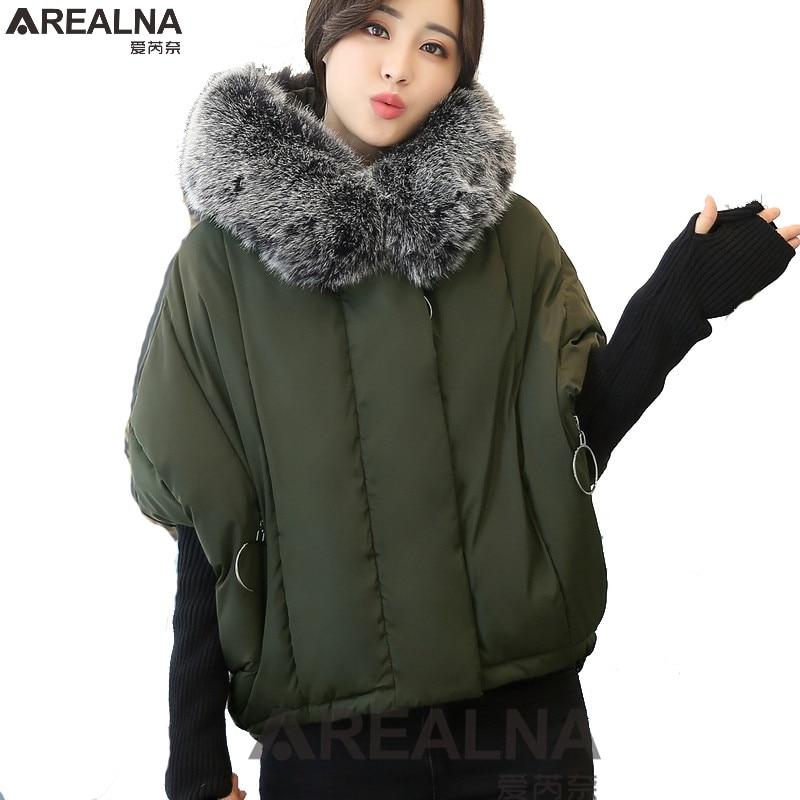 Winter jacket women short paragraph plus size coat women cotton Warm loose bat sleeves splicing knitted sleeve parka Outerwear