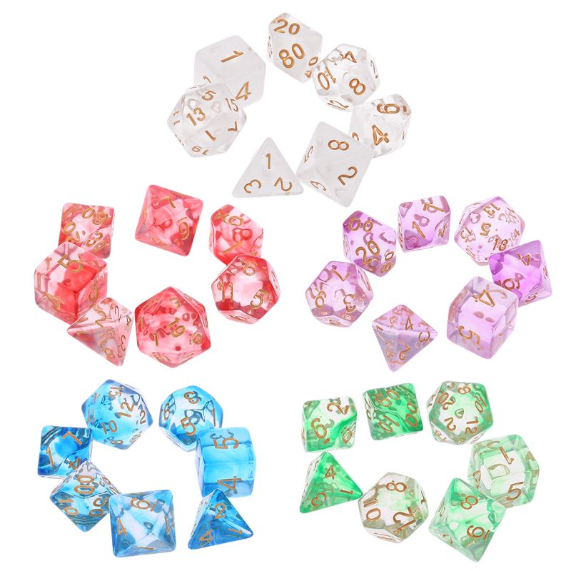 7pcs/set Transparent Sided Dice D4 D6 D8 D10 D12 D20 Dungeons & Dragon D&D RPG Poly Table Board Games Toy