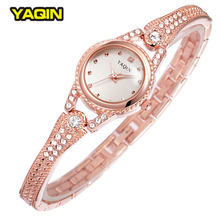 2016 Marque Strass Or Rose Femmes Montre YAQIN Luxe Slim Band Lady Bracelet Fermoir Montre Relogios Femininos
