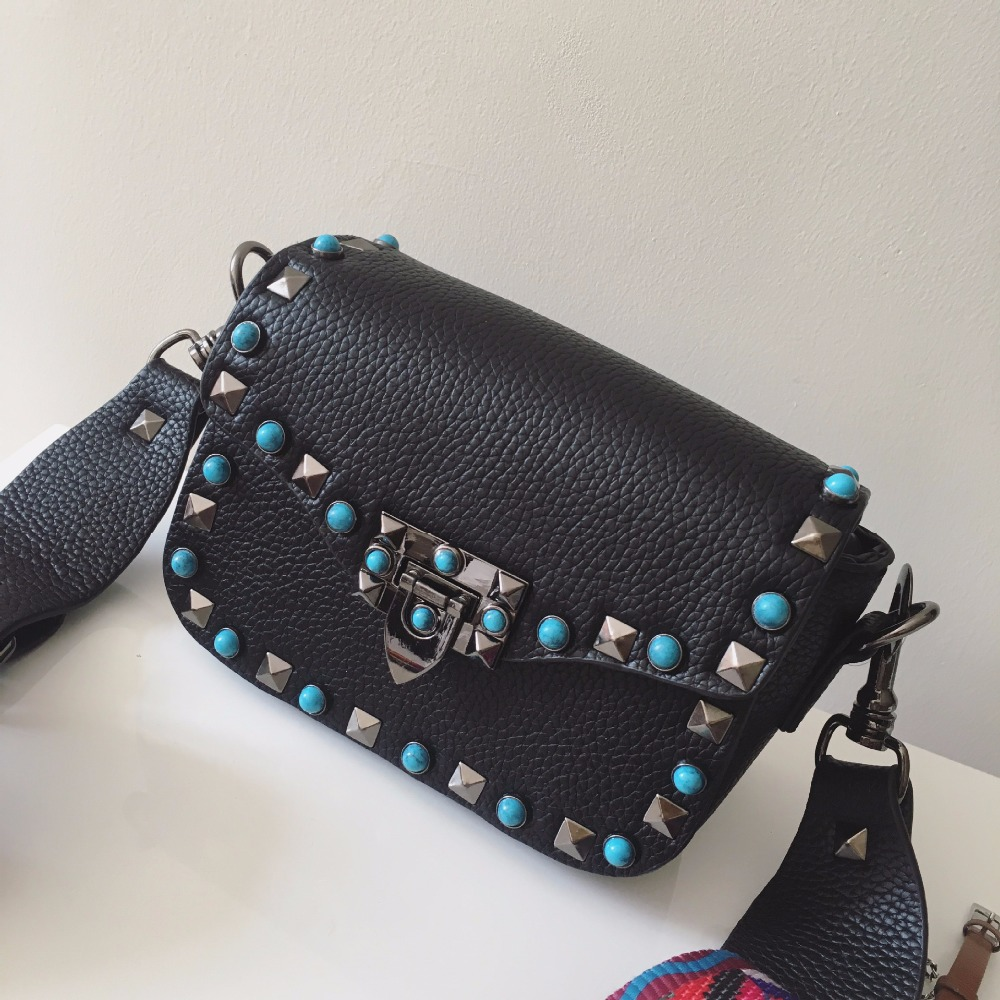 2016 Beautiful Women Fashion Handbags PU Leather Turquoise Rivets Chains Hand Bag Flap Shoulder Messenger Crossbody Black Bags 6pin din female connector socket adapter din plug jack cable connector solder for audio 20pcs high quality