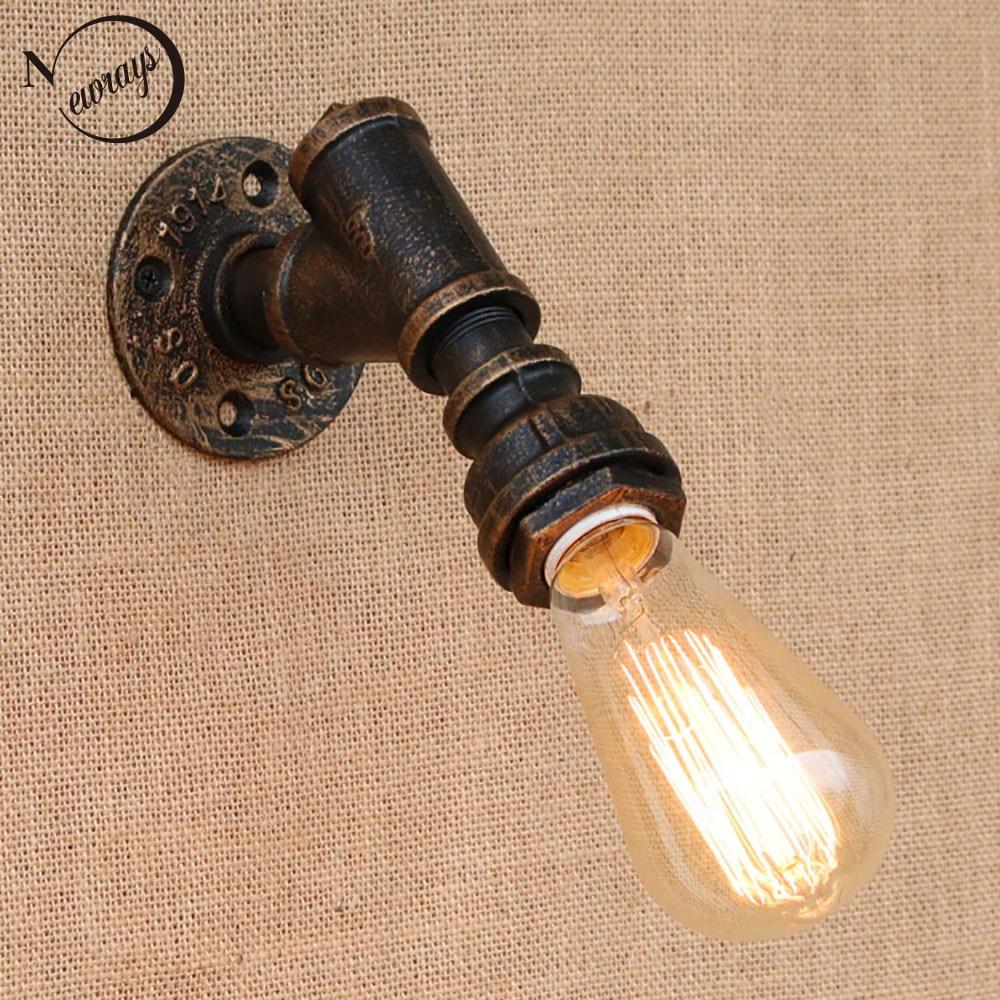 இbref Fer Tuyau D Eau Vintage Loft Mur Lampe De Chevet Avec Edison