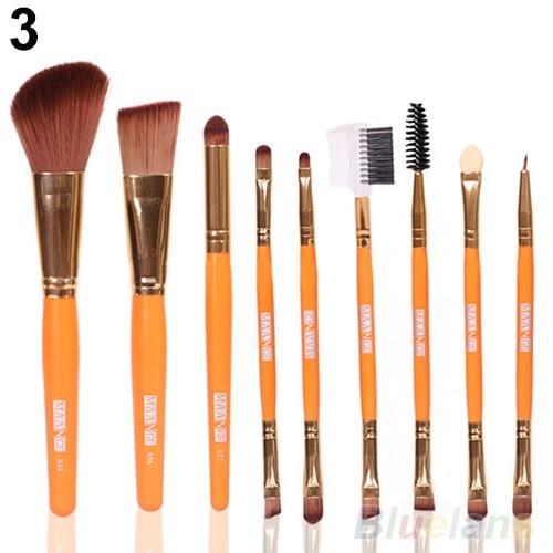 9Pcs font b Blush b font Lip Makeup Eyebrow Eyeliner Brush Set Cosmetic Tool Beauty Brushes