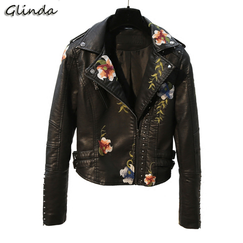 2019 Embroidery Faux   Leather   Jacket Spring Autumn Women Clothing Short Coat Turn-down Collar Zipper Motorcycle Jacket Female