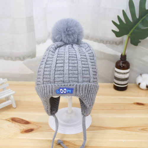 1295886679e ... Baby Hat Large Pom Pom Bobble Chin Tie Winter Knitted Warm Boy Girl 0-12
