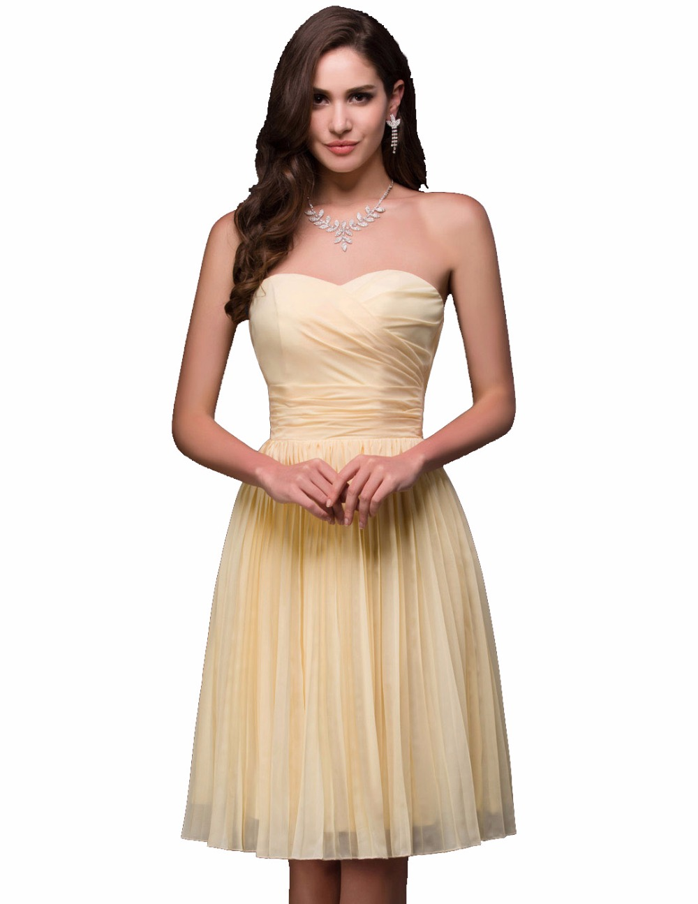 Cheap bridesmaid dresses under 50 2016 grace karin strapless cheap bridesmaid dresses under 50 2016 grace karin strapless yellow short formal dress knee length chiffon party gowns vestidos in bridesmaid dresses from ombrellifo Gallery