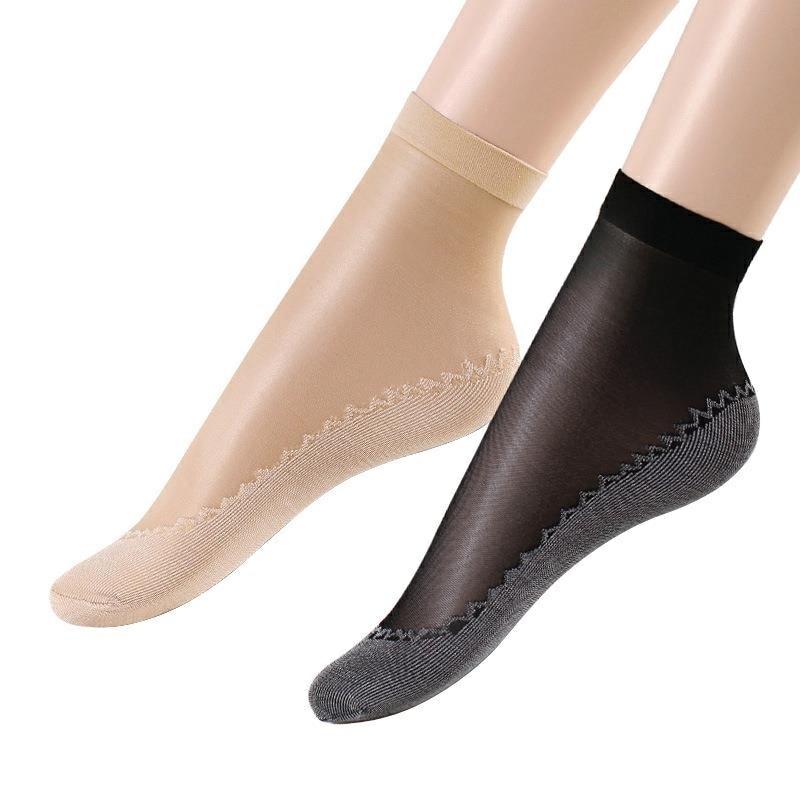 10 Pairs/ Bag Velvet Silk Womens Socks Cotton Bottom Soft Non Slip Sole Massage Wicking Slip-resistant Summer And Autumn Socks