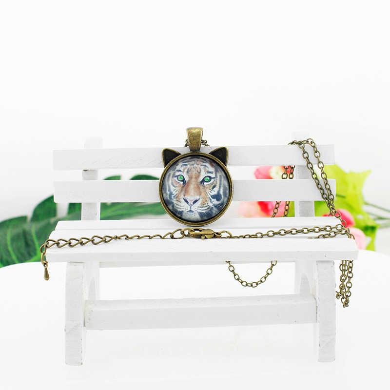 JOINBEAUTY ファッション 4 葉のクローバー猫耳のネックレス花ガラスカボションペンダントロングチェーンネックレスステートメントジュエリー QF352