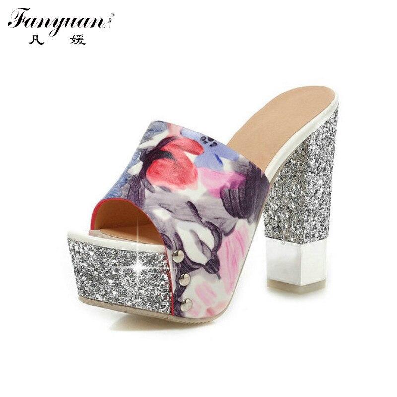 ФОТО 2017 Plus Size Women Summer Shoes Fashion Flower Print Glitter Pumps Sexy Bling Heels Peep Toes High Heels Slingbacks Pumps
