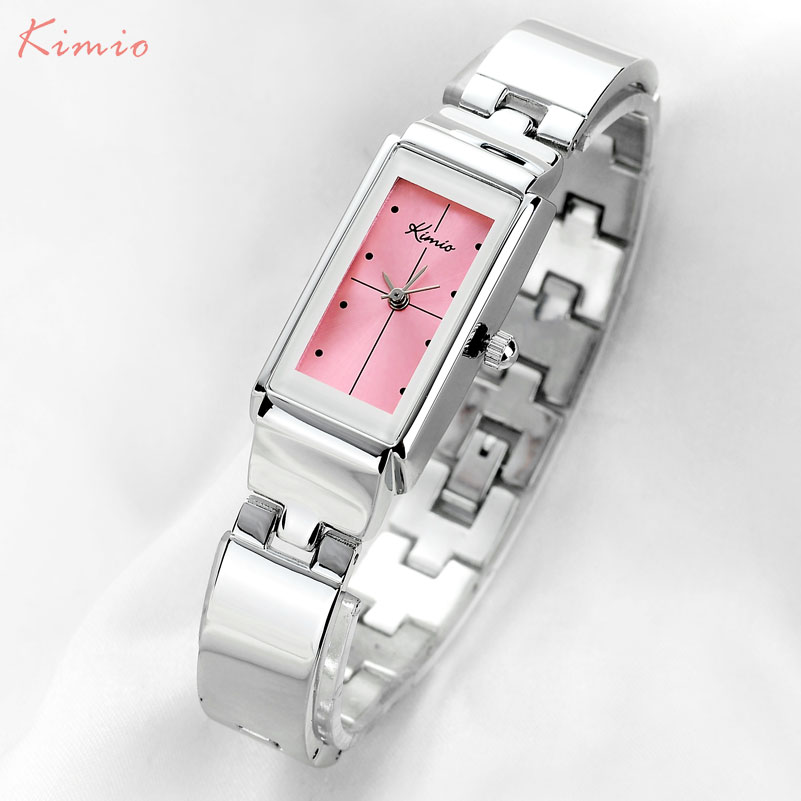 KIMIO Brand Women Quartz Watches Dress Ladies Bracelet Watches Fashion Analog Female Wristwatches Pink Red Alloy Band Gift Clock