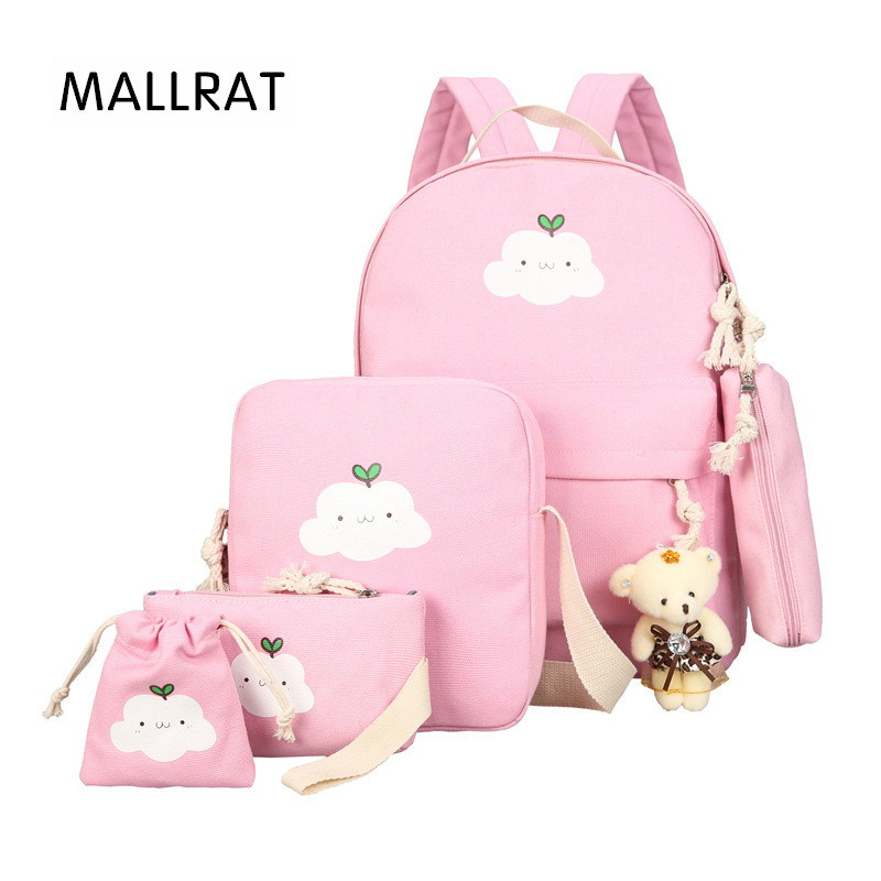 MALLRAT 6Pcs/Set Composite Bag Korean Women Backpacks Canvas Book Bags Cute Cloud Print Schoolbag for Teenage Girl Mochila