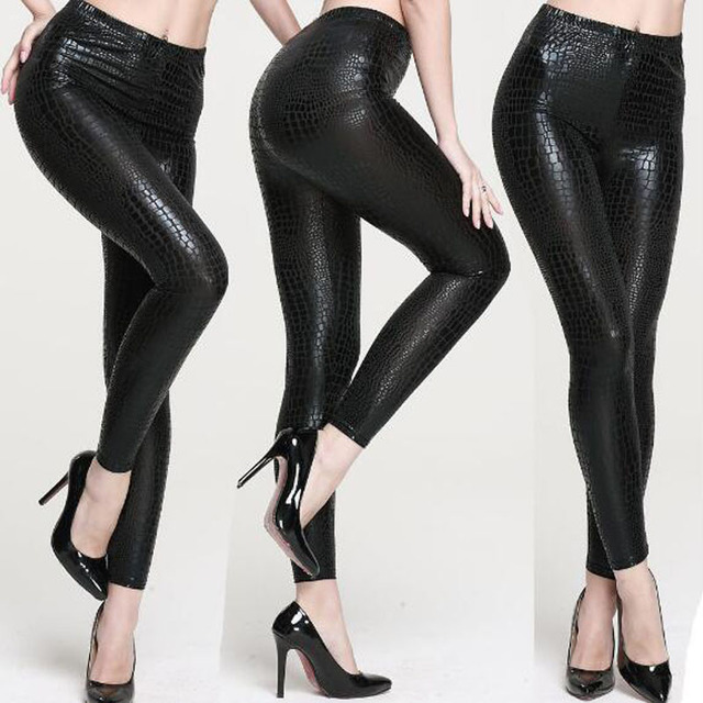 db2a254e4570e Shiny Snake Skin Pattern Faux Leather Leggings Women Punk Gothic Pencil  Pants Sexy Slim Trousers Nightclub Dancing Wear
