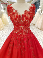 Angel Tree Custom Made Red Appliques Crystal Flowers V Neck Cap Sleeve Count Train Wedding Dresses