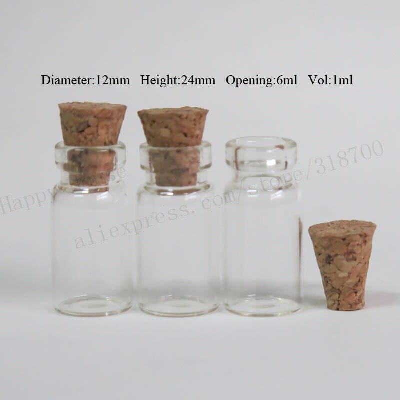 100x1 мл мини прозрачная стеклянная бутылка с деревянная пробка 1cc маленькая пробка прозрачная стеклянная пробковая пробка флаконы, желаемые контейнеры для бутылок