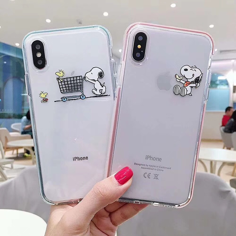 Cartoon Snoopy Transparent Color Border Phone Case For Iphone 6 6s 7 8 Plus X Xr Xs Max Anti Fall Luxury Mobile Phone Holder Fitted Cases Aliexpress